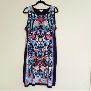 Plus Size Floral Bodycon Midi Dress - #186